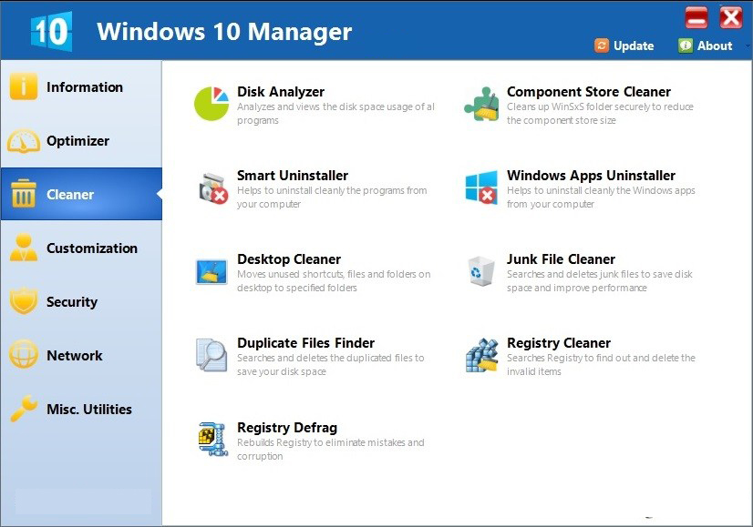 Windows 10 Manager windows