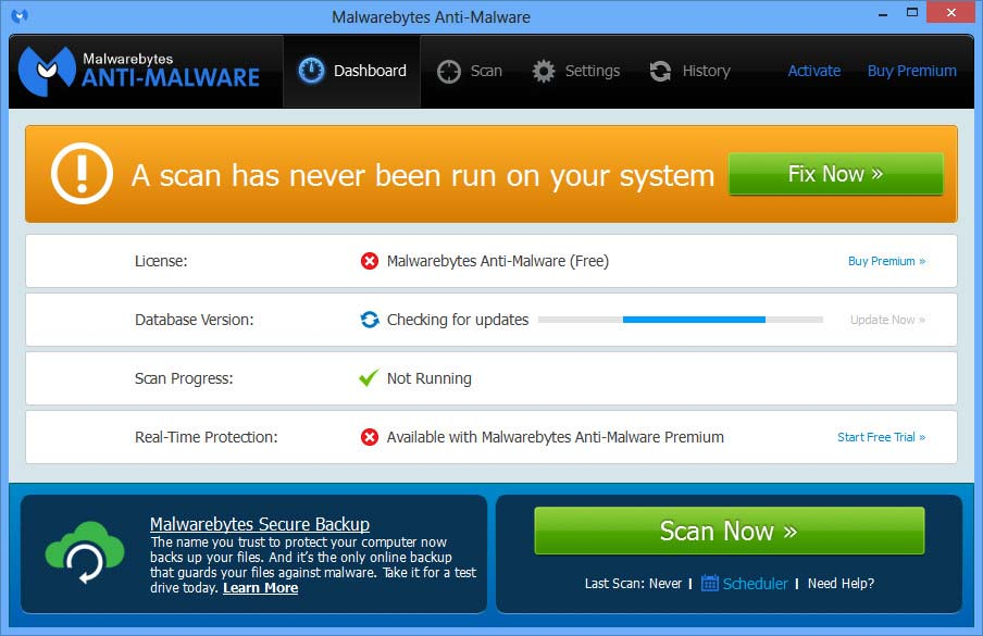 Malwarebytes Anti-Malware windows