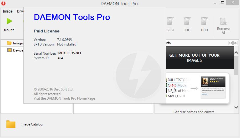 DAEMON Tools professional windows