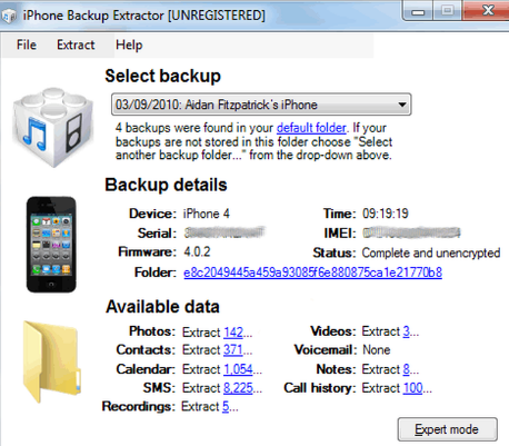 iPhone Backup Extractor latest version