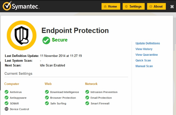 Symantec Endpoint Protection windows