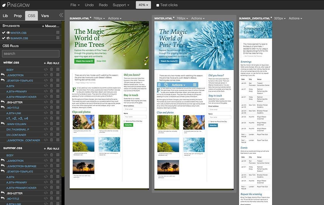 Pinegrow Web Editor windows