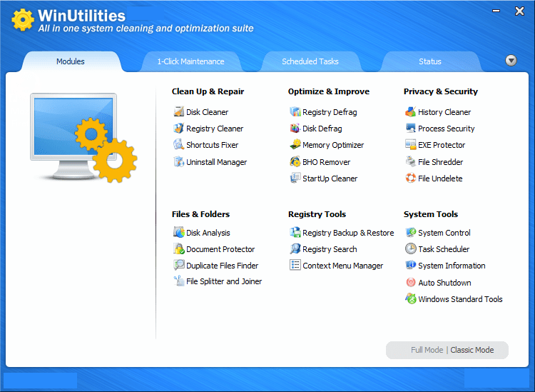 WinUtilities Pro windows