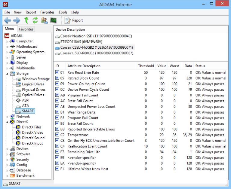 AIDA64 Extreme windows