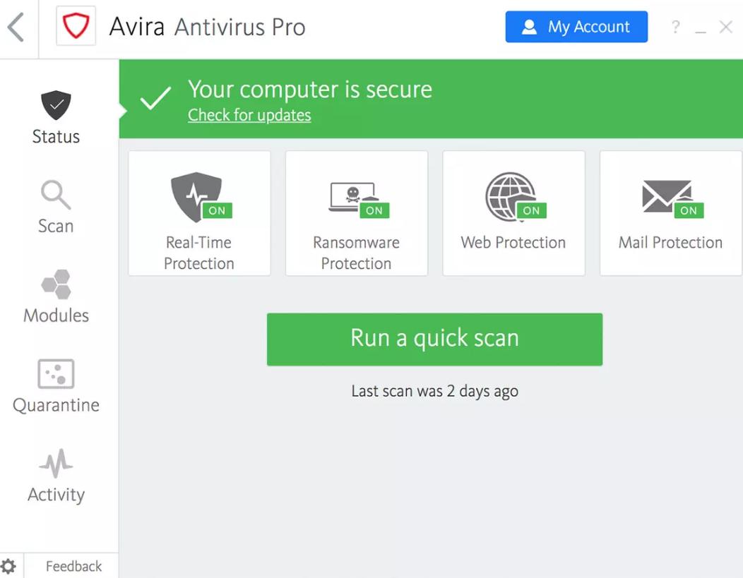 Avira Antivirus Pro windows