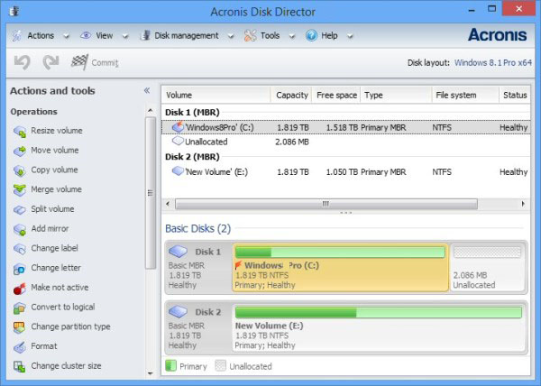 Acronis Disk Director windows