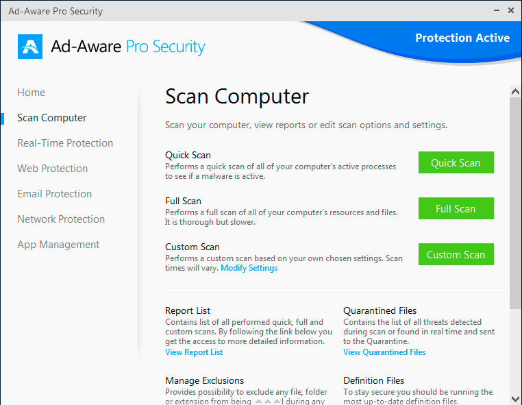 Ad-Aware Pro Security windows