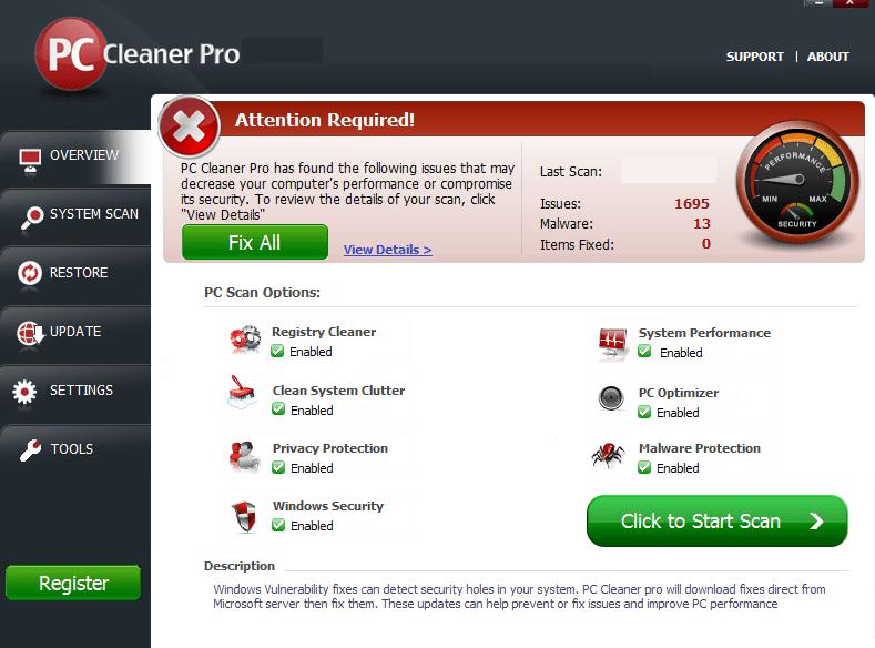 PC Cleaner Pro windows
