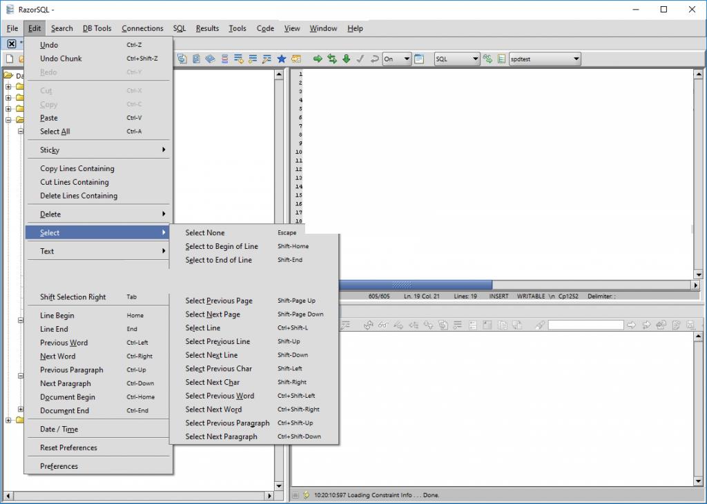 RazorSQL windows