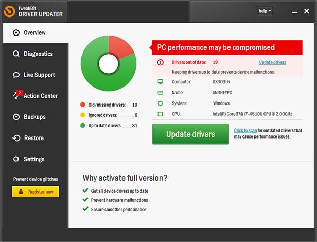 TweakBit Driver Updater windows