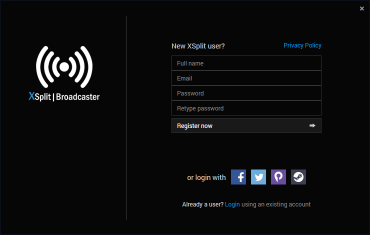 XSplit Broadcaster windows