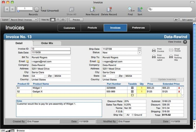 FileMaker Pro windows